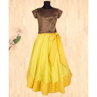 Silverthread Lehnga Choli With Bow, Yellow